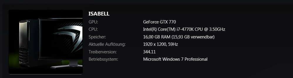 Hardwarezusammenfassung in Geforce Experience